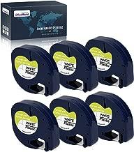 OfficeWorld 6 x Compatible DYMO LetraTag 91201 S0721610 Cintas de Etiquetas Negro sobre blanco Plastico Cinta de etiquetas, Compatible para DYMO LT-100H LT-100T LT-110T QX 50 XR XM 2000, 12mm x 4m