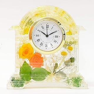 Lulu's ルルズ ハーバリウム 花時計 Flower clock イエローオレンジ プリザーブドフラワー ドライフラワー サイズ:14×13×4.5cm イエローオレンジ Lulu's-1212