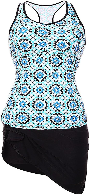 Aleumdr Women's Abstract Print Racerback Tankini Skirt Skort Swimsuit S  XXXL