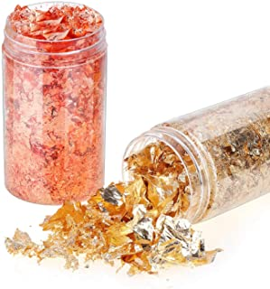 Gold Flakes for Resin, Shynek 3 Grams Gold Foil Flakes Imitation Metallic Leaf Flakes for Resin Jewelry Making, Nails, Pai...