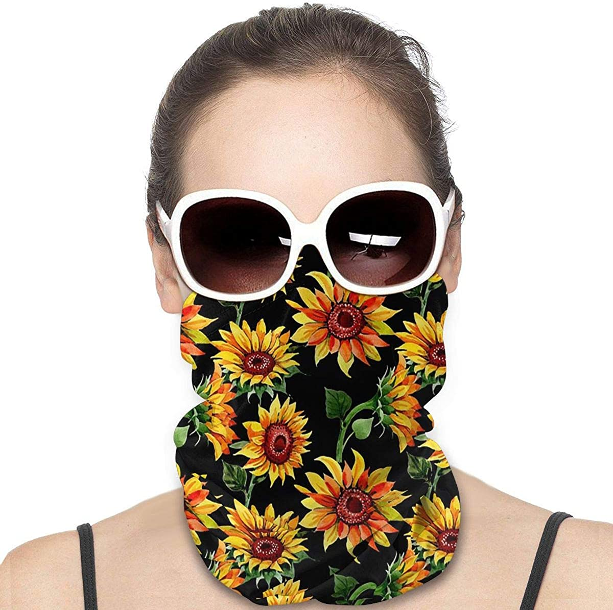 KiuLoam Women Bandanas Face Mask, Sunflower Floral Neck Gaiter Mask Headband for Men Face Scarf Dust, Outdoors, Sports