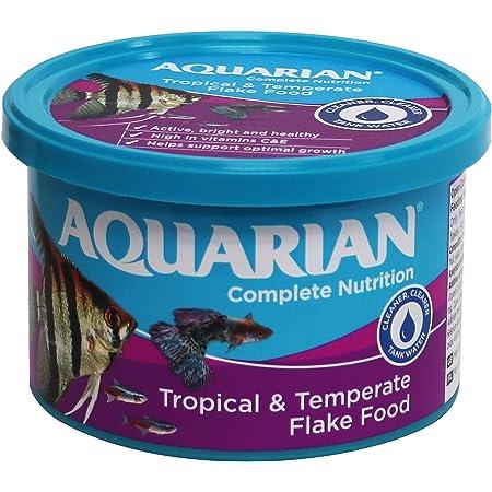 AQUARIAN Complete Nutrition, Aquarium Tropical & Temperate Fish Food Flakes, 50g Container