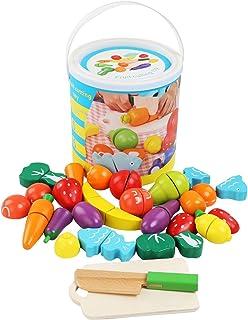 BelleStyle Juguetes Cortar Frutas Verduras de Madera, Gastronomia Saludable, Sin Toxico Juguetes Educativos para 3+ Nino (...