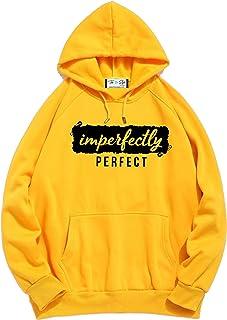 The SV Style Unisex Yellow Hoodie with Black Print: IMPERFECTLY Perfect/Printed Yellow Hoodie/Graphic Printed Hoodie/Hoodie for Men & Women/Warm Hoodie/Unisex Hoodie