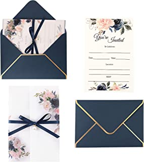 Doris Home Navy Blue Invitations Cards with Envelopes and Printed Inner Sheets for Bridal Shower Invite, Baby Shower Invit...