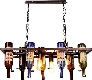 Newrays Loft Lámpara colgante retro para botella de vino, de hierro, E27, LED, para salón, bar, restaurante, cocina, casa, botellas no incluidas