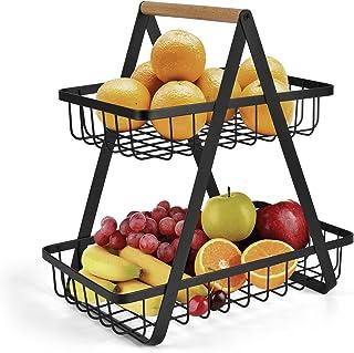 2 niveaux de fruits etagere bol de fruits corbeille de fruits bol de fruits corbeille à pain légume support en bois stocka...