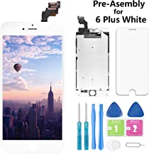 Screen Replacement for iPhone 6 Plus White 5.5 Inch LCD Display A1522 A1524 A1593 Pre-Assembly Touch Digitizer with Front Camera, Proximity Sensor, Earpiece and Screen Protector (6 Plus-White)