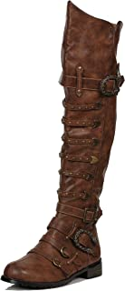Ellie Shoes Men's Wilbur Steampunk Costume Boots - Combat Shoes, Brown Patent, S