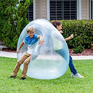 Tiktok Amazing Water Filled Balls for Kids, Bubble Ball Inflatable Fun Ball, Outdoor Funny Balloon Toy Inflatable Transparent Beach Ball for Party Garden Bubble Ball for Adults & Children (Blue, 40CM)
