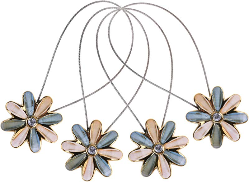 CM Cosmos 2 Pairs Magnetic Flower Curtain Clips Tiebacks Holdbacks Light Blue