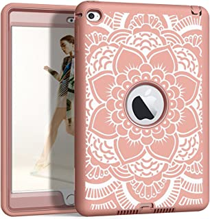 Hocase iPad Mini 4 A1538/A1550 Case, Shockproof Protection Silicone Rubber Bumper+Hard Shell Hybrid Full Body Protective Case for iPad Mini 4th Generation 2015 - Rose Gold Mandala Flower