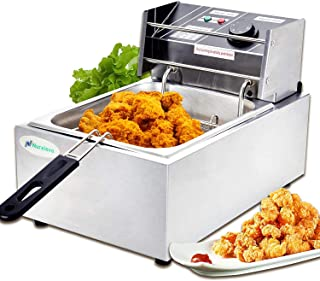 Electric Deep Fryer -Nurxiovo 8Liter Commercial Small Deep Fryer with Basket 1800watt Countertop Stainless Steel French Fries Restaurant Home Kitchen 1 Tank