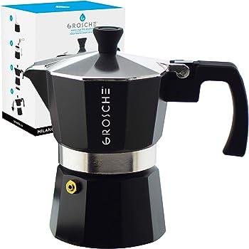 GROSCHE Milano Stovetop Espresso Maker Moka Pot 3 espresso Cup - 5 oz, Black - Cuban Coffee Maker Stove top coffee maker Moka Italian espresso greca coffee maker brewer percolator