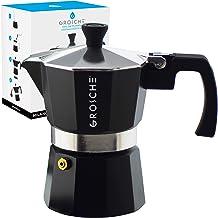 GROSCHE Milano Stovetop Espresso Maker Moka Pot 3 espresso Cup – 5 oz, Black..