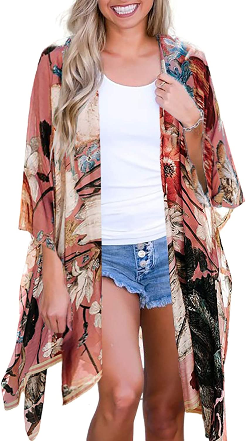 AZOKOE Women Floral Kimono Cardigans Casual Loose Open Front Swimsuit Cover Ups Tops