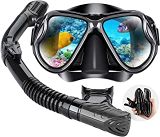 Dry Snorkel Mask Set Snorkeling Gear – Foldable Dry Snorkel Set with Dry-Wet Switchable Float Valve, Purge Valve Tube, Ant...