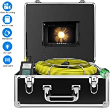 Sewer Camera, IHBUDS 30M/100Ft Pipeline Inspection Camera Drain Sewer Industrial Endoscope Video Plumbing System with 7 Inch LCD Monitor Snake Cam HD Video Waterproof Pipe Camera (30M with DVR)