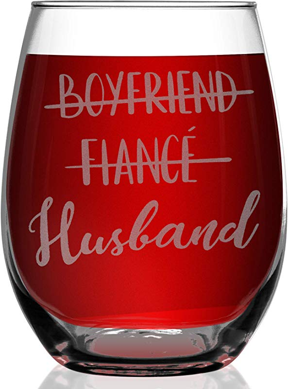 Shop4Ever Boyfriend Fiance Husband Laser Engraved Stemless Wine Glass Engagement Gift 15 Oz