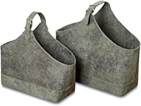 WHW Whole House Worlds Tribeca Magazine Holder Racks, Set of 2, Lush Gray Faux Suede, Top Handle, Silver Buckles and, Stitched Details, 18 and 15 3/4 Inches Long