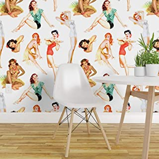 Spoonflower Pre-Pasted Removable Wallpaper, Pinup Vintage Retro Rockabilly Midcentury Tropical Hawaiian Print, Water-Activated Wallpaper, 12in x 24in Test Swatch