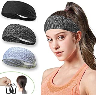 LKBOX Workout Headbands for Women Men 3 Pack Non Slip Wide Elastic Sweat Bands Strechy Lightweight Breathable Wrap Hair Sp...