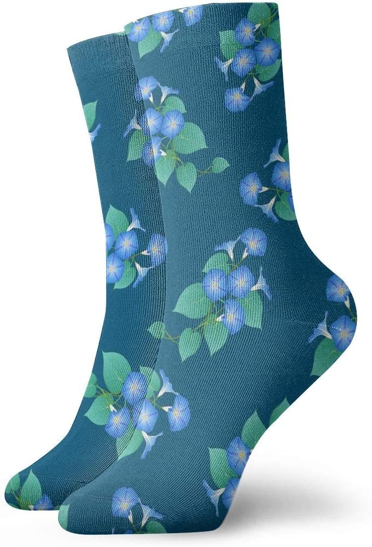 Unisex Casual Blue Morning Glory Navy Moisture Sale item Wicking Socks Year-end gift on