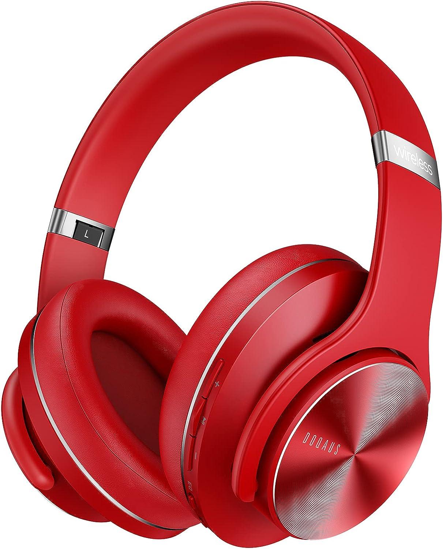 DOQAUS Auriculares Diadema, [52 Hrs de Reproducir] Alta fidelidad Estéreo Cascos Inalámbrico Bluetooth con 3 Modo EQ y Micrófono Incorporado, Auriculares Bluetooth para Móviles/Xiaomi/TV-Rojo