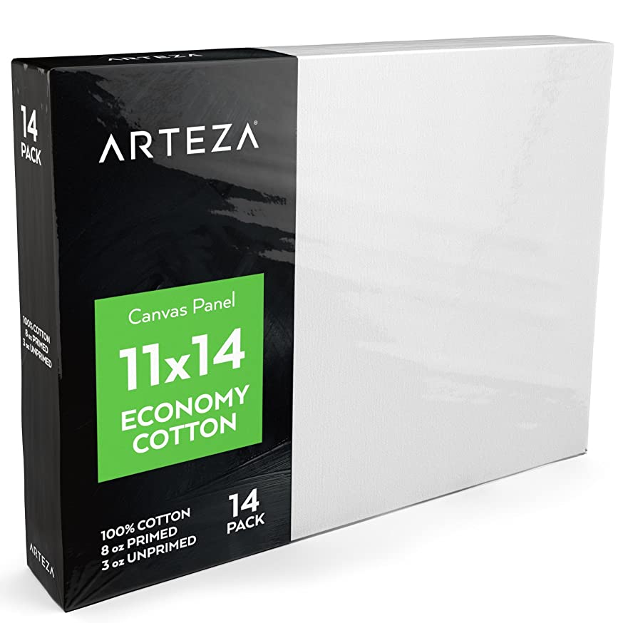 ARTEZA 11x14 White Blank Canvas Panel Boards, Bulk Pack of 14, Primed, 100% Cotton for Acrylic Painting, Oil Paint & Wet Art Media, Canvases for Professional Artist, Hobby Painters