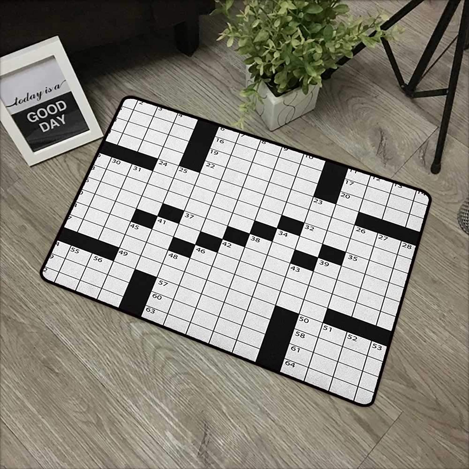 Clear Printed Pattern Door mat W35 x L59 INCH Word Search Puzzle,Blank Newspaper Style Crossword Puzzle with Numbers in Word Grid, Black and White with Non-Slip Backing Door Mat Carpet