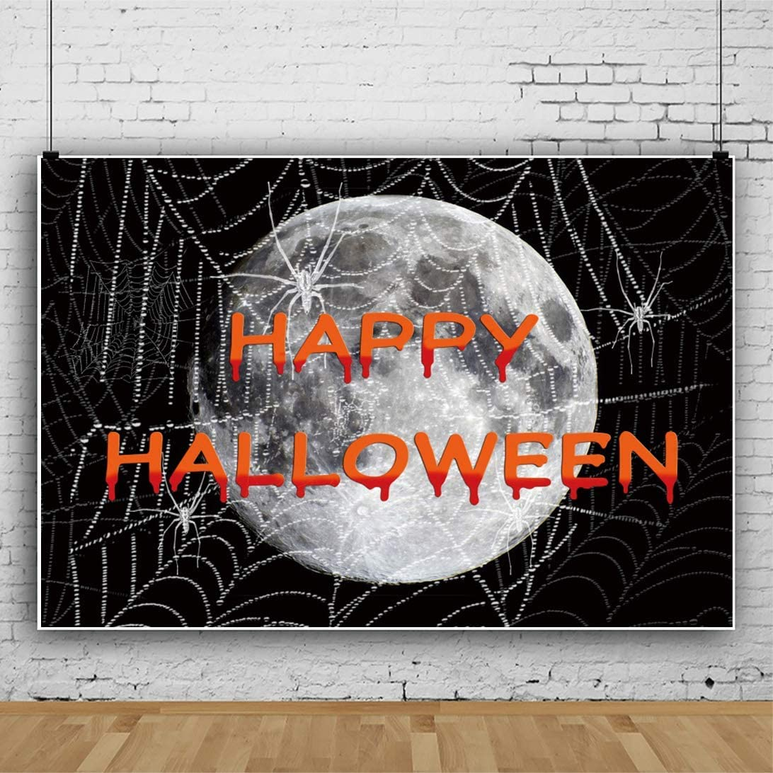 Happy Halloween Background 5x3ft Masked Ball Vinyl Photography Backdrop Cartoon Night Crescent Moon Grimace Pumpkin Skull Death Sickle Bat Witch Haunted House Scary Party Portrait Shoot