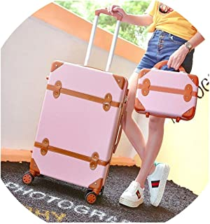 Classical Retro Rolling Luggage With Cosmetic Bag For Women Travel Carry On Trolley Suitcase,Pink2(With Handbag),26