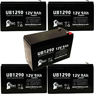 5 Pack Replacement for Tripp Lite OMNIVS1500 Battery - Replacement UB1290 Universal Sealed Lead Acid Battery (12V, 9Ah, 9000mAh, F1 Terminal, AGM, SLA) - Includes 10 F1 to F2 Terminal Adapters