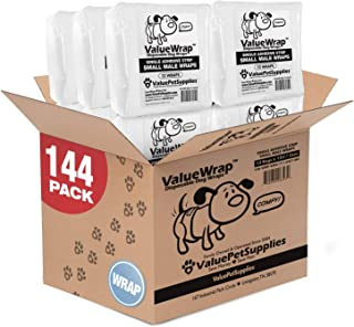 ValueWrap Disposable Male Dog Diapers, 1-Tab, 144 Count - Absorbent Male Wraps for Incontinence, Excitable Urination & Travel, Fur-Friendly Fasteners, Leak Protection, Wetness Indicator
