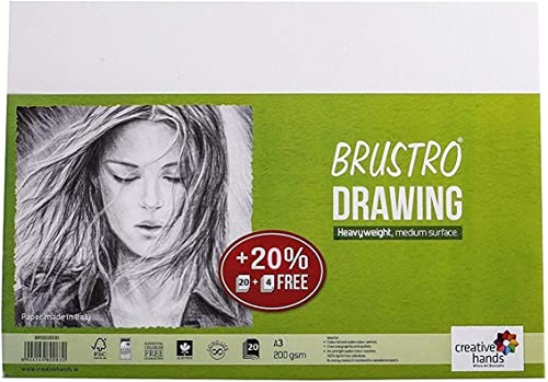Brustro Drawing Papers 200 GSM A3, Pack of 20 + 4 Free Sheets