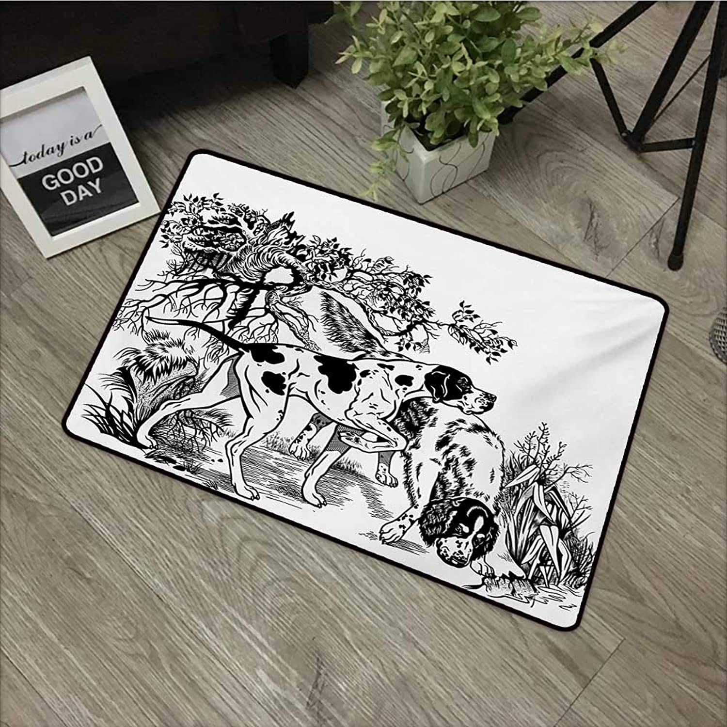 Pool Anti-Slip Door mat W35 x L59 INCH Hunting,Hunting Dogs in The Forest Monochrome Drawing English Pointer and Setter Breeds,Black White Easy to Clean, Easy to fold,Non-Slip Door Mat Carpet