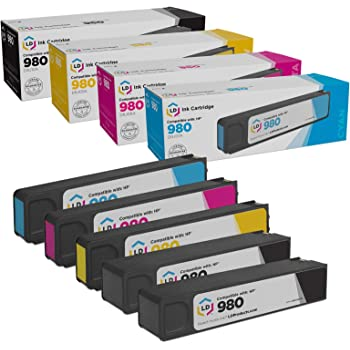 Black, 5-Pack 980 NYT Compatible High Yield Inkjet Cartridge Replacement for D8J10A 981 XL for HP D8J10A