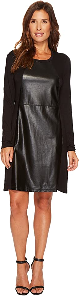 Crew Neck Dress w/ Pockets and Faux Leather Detail