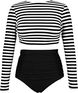 Women's Long Sleeve Swim Shirt Rash Guard Top Tankinis Set High Waist Bathing Swimsuit(FBA)