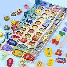 Brinquedo de pesca magnética infantil Educação infantil Placa logarítmica de madeira Número de quebra-cabeça de forma de c...