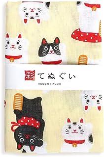 彩(irodori) ガーゼ手ぬぐい 招き猫 クリーム 日本製 てぬぐい 二重袷 二重ガーゼ ほつれ防止加工 約33×88cm