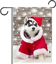 Tuinvlag, Decor Yard Banner Boerderij Outdoor Decoratie Siberische Husky Puppy in New Year's Verticale 28x40 Inch