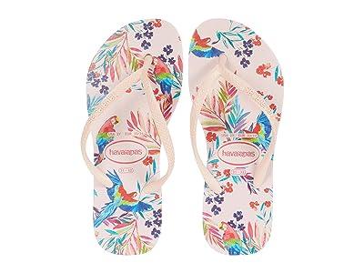 Havaianas Kids Slim Tropical Floral Flip-Flop (Toddler/Little Kid/Big Kid) (Ballet Rose) Girls Shoes
