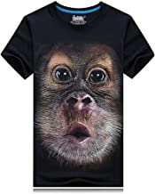 CreepyParty cara de mono camiseta de manga corta 4X L), color negro