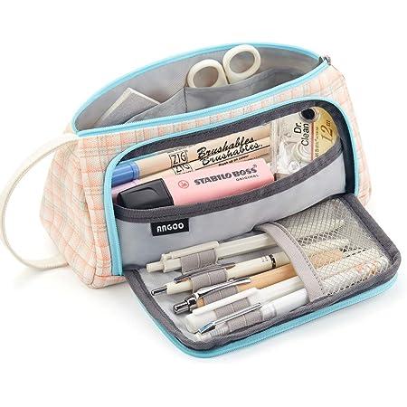 Teen Girls Pencil Case for School Office Organizer Girls Makeup Bag Simple Fashion fidget pencil Plaid Pencil Case Big Capacity Pencil Pouch,Pastel Pencil Case Light blue