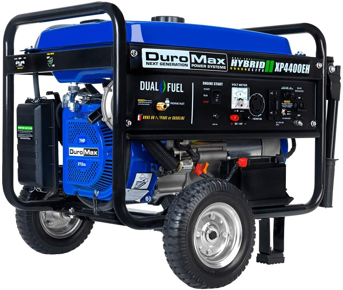 DuroMax XP4400EH Dual Fuel Portable Generator-4400 Watt Gas or Propane Powered Electric Start-Camping & RV Ready, 50 State Approved, Blue and Black