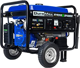 DuroMax XP4400EH Dual Fuel Electric Start Portable Generator, Blue and Black