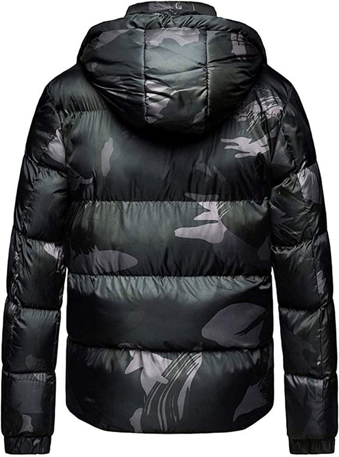 Men's Camo Printed Hooded Insulated Puffy Down Alternative Parka Jacket
