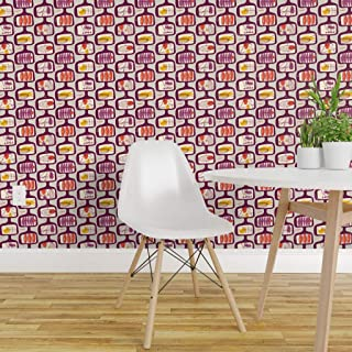 Spoonflower Pre-Pasted Removable Wallpaper, Vintage Mod Geometric Purple Atomic Retro Mid Century Modern Abstract Circles Print, Water-Activated Wallpaper, 12in x 24in Test Swatch