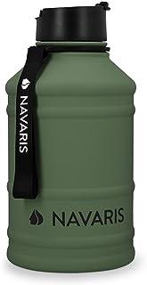 Navaris waterfles van roestvrij staal - Drinkfles - 2L - Extra grote roestvrijstalen fles met drinkdop - Ideaal tijdens he...